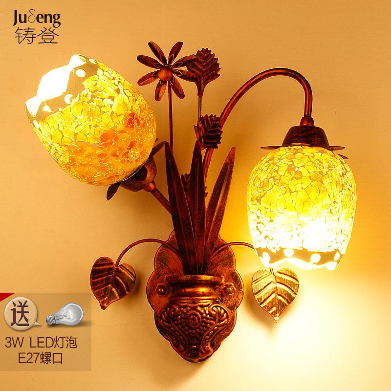欧式壁灯简约田园客厅美式创意卧室灯阳台过道床头楼梯灯饰灯具