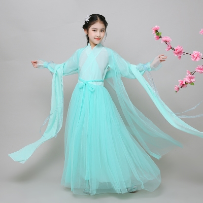 Children's costume, Cos fairy princess, girl, princess, fresh dance, zither, performance, Hanfu.
