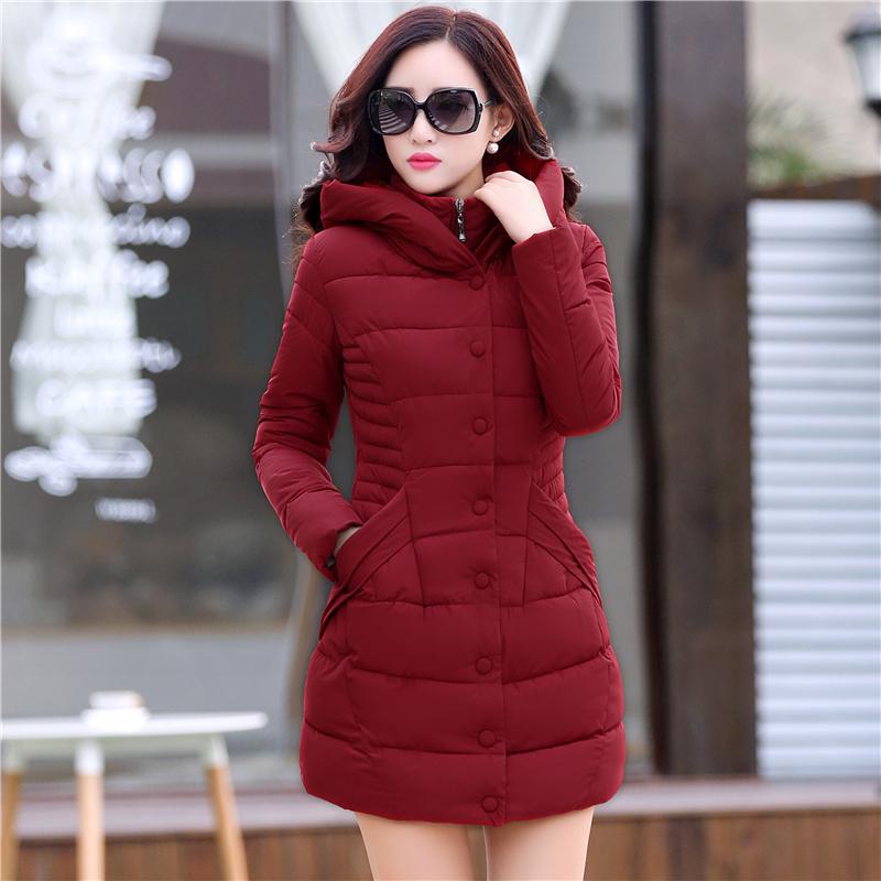 【天天特价】2016新款大码女装韩版中长款菱形格加厚羽绒棉衣外套