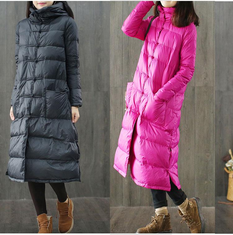中国风冬季新款文艺复古盘扣连帽羽绒服女长款过膝宽松时尚斗篷型