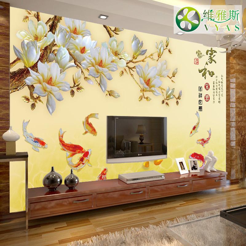 电视背景墙壁纸简约现代 客厅 中式3d立体墙纸沙发卧室仿玫瑰壁画