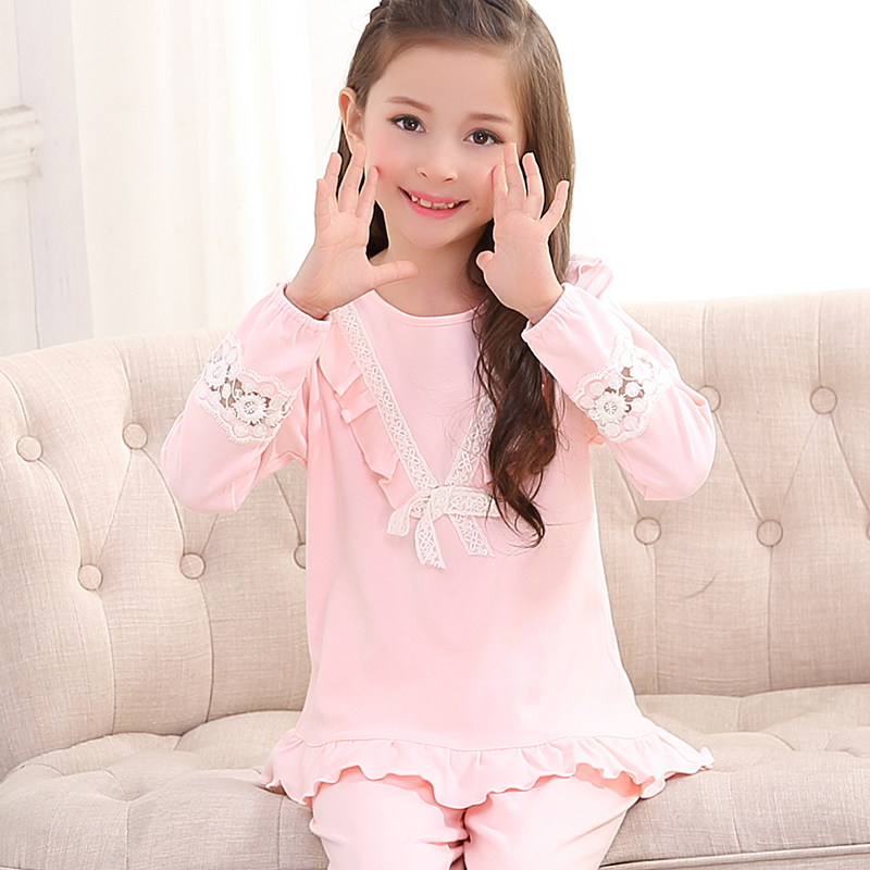 b90a7c0d66 Long-sleeved children s pajamas Fall girls pure cotton spring and Autumn  middle Big boy little girl children set thin autumn winter