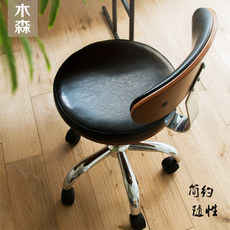 North European small computer chair American solid wood office rotating leather chair home curved wood retro student desk chair