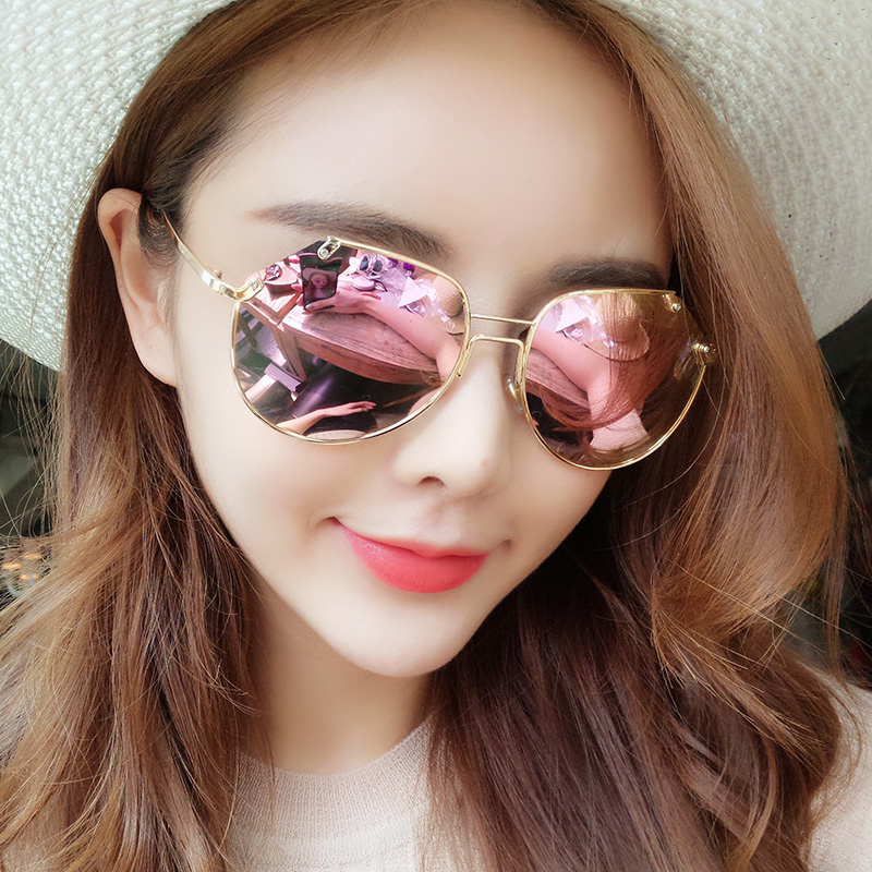 4668acc84f 2019 new sunglasses female Tide star with sunglasses black and gray ants  personalized polarized frog mirror round face glasses