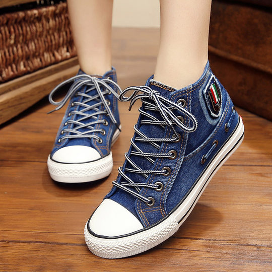 2018 spring and autumn models wild canvas shoes female flat with students Korean casual shoes high to help sports denim shoes