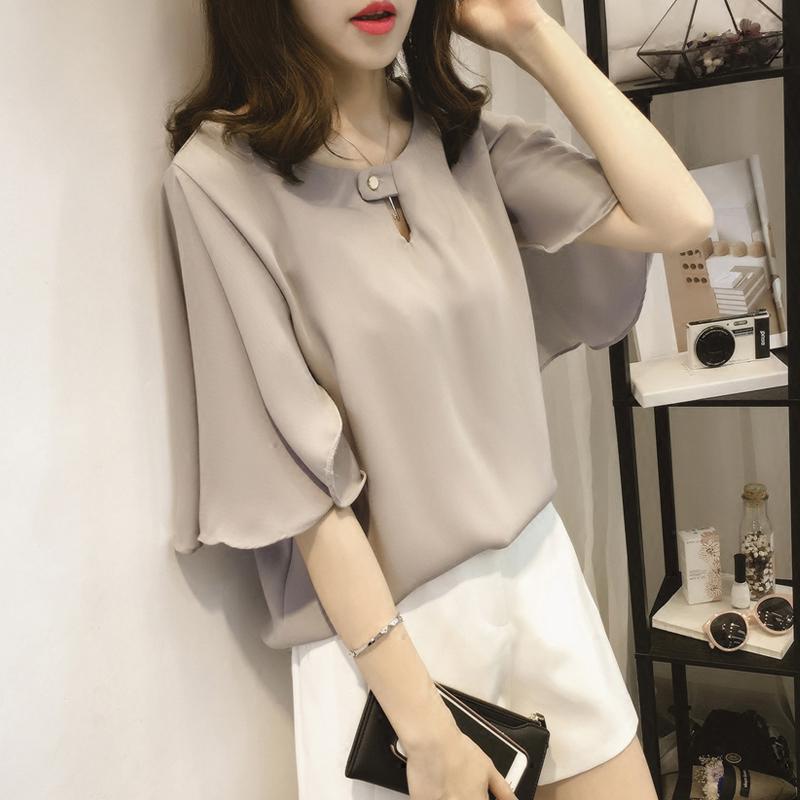 真丝衬衫女装2017夏季新款短袖纯色韩版时尚打底衫高档桑蚕丝上衣