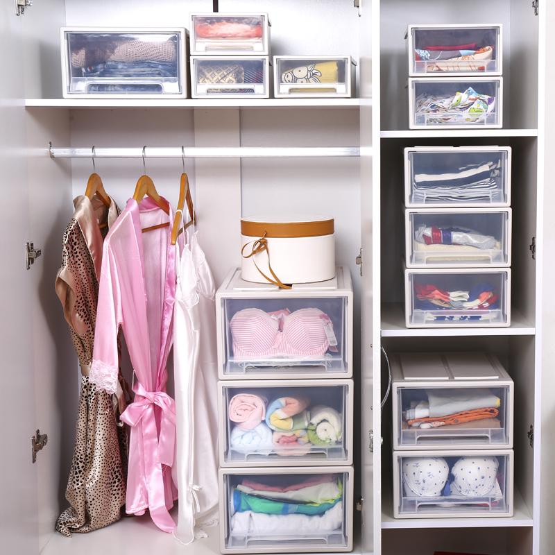 塑料收纳箱抽屉式收纳柜衣柜内衣物收纳盒透明特大号储蓄整理箱子