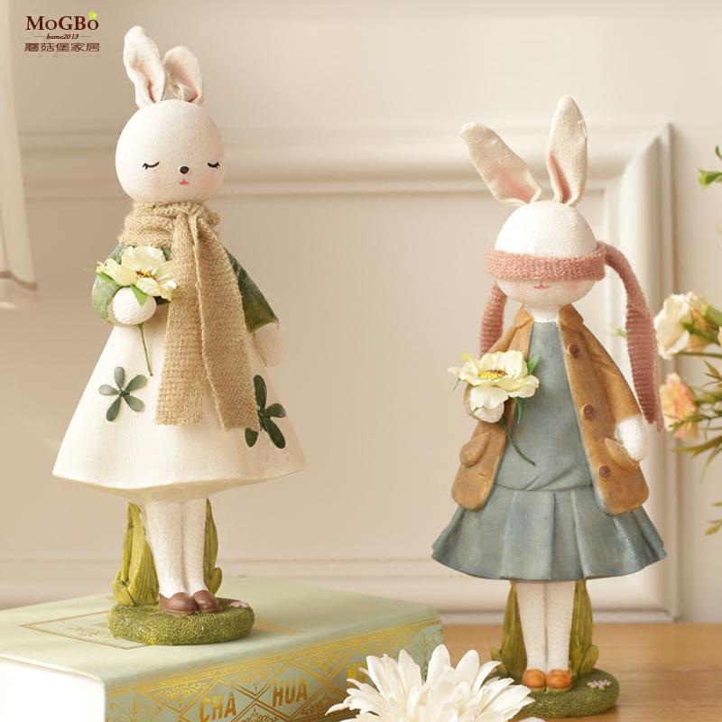 蘑菇堡可妮兔子摆件创意家居饰品客厅工艺品装饰儿童房样板间摆件