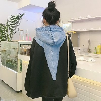2017 autumn and winter women's Korean version of the Harajuku stripe hit color long-sleeved denim stitching hooded cardigan sweater coat female