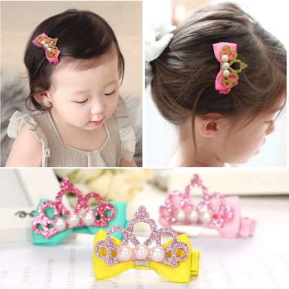 Enthusiastic childhood children hair accessories hairpin Princess imitation pearl crown tiara hairpin duck girl mouth clip baby clip