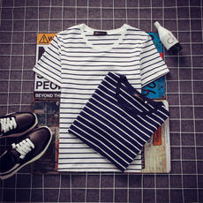Summer men's black and white striped Slim short-sleeved T-shirt student Korean round neck half-sleeved clothes men's trend t shirt