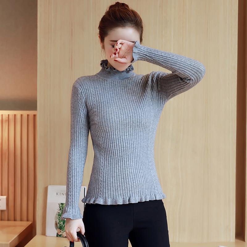荷叶新款韩版长袖毛衣边半木耳套头打底女秋冬百搭修身针织高领衫