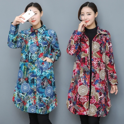 2017 winter women thicker national wind retro printing in the long section plus velvet warm large size loose long-sleeved jacket