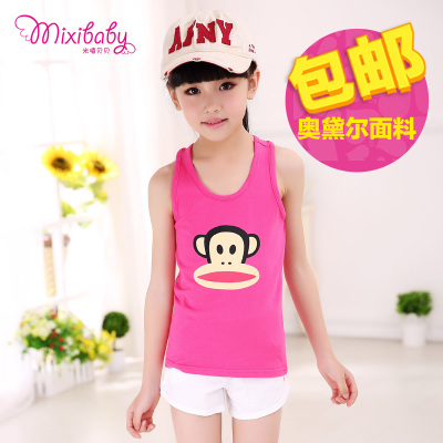 Children's clothing 2016 new summer children's cartoon sleeveless T-shirt baby cotton sling girl Korean version of the word vest