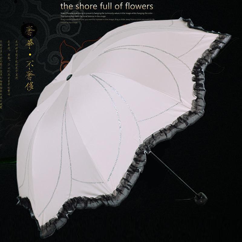 天堂伞 折叠防紫外线蕾丝女士太阳伞 黑胶超强防晒遮阳公主晴雨伞