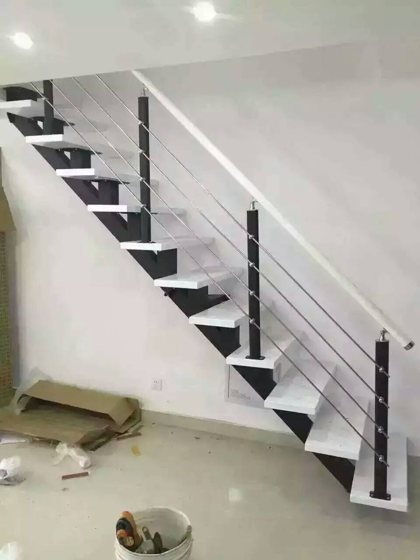 Attic staircase custom straight ladder home steel wooden ladder duplex square tube stair strong security staircase white & Attic staircase custom straight ladder home steel wooden ladder ...