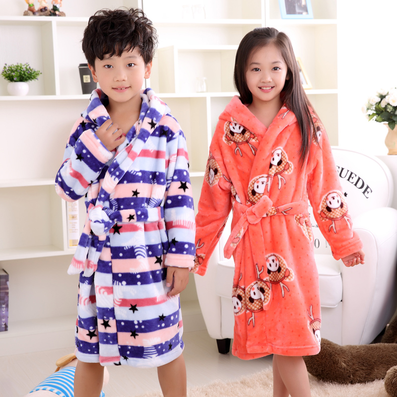 Triffik autumn winter flannel children's nightgown coral thickening pajamas boys girls children baby bathrobes