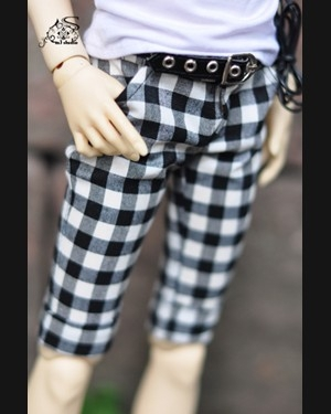 taobao agent M3/sd doll/bjd baby clothes men's leather pants washed jeans shorts 70cm3 points 4 points spot MMP257