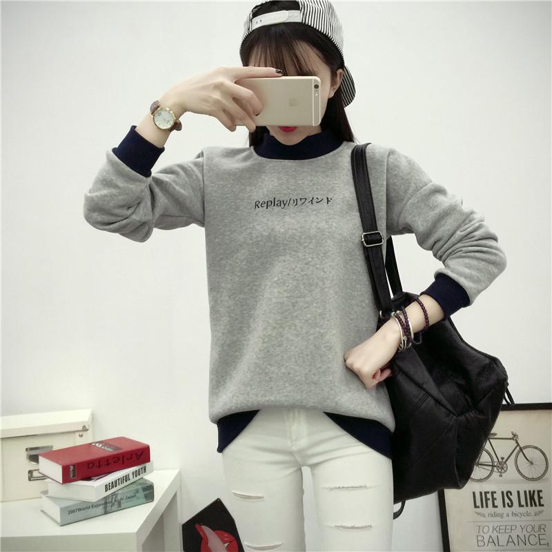 秋冬棒球服女韩版开衫情侣装加绒外套青少年男女大码卫衣学生班服
