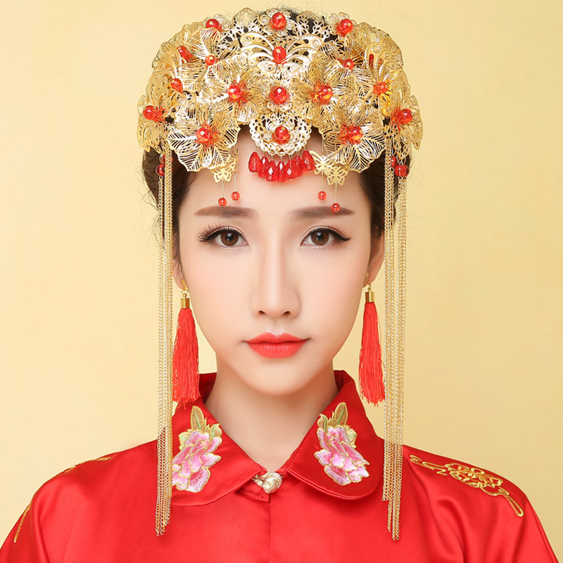Usd 1040 Lead Chinese Time Bride Crested Costume Headdress Dragon