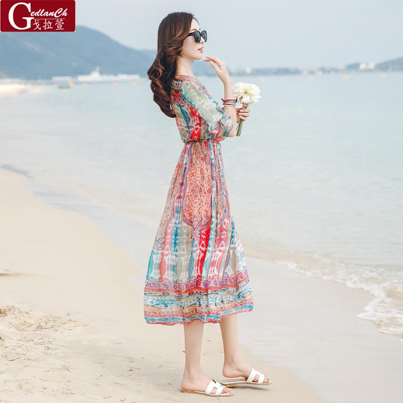 Bohemian kích thước lớn đu lớn mùa hè voan mỏng bên bờ biển khu nghỉ mát bãi biển váy tay áo đầm lỏng dress