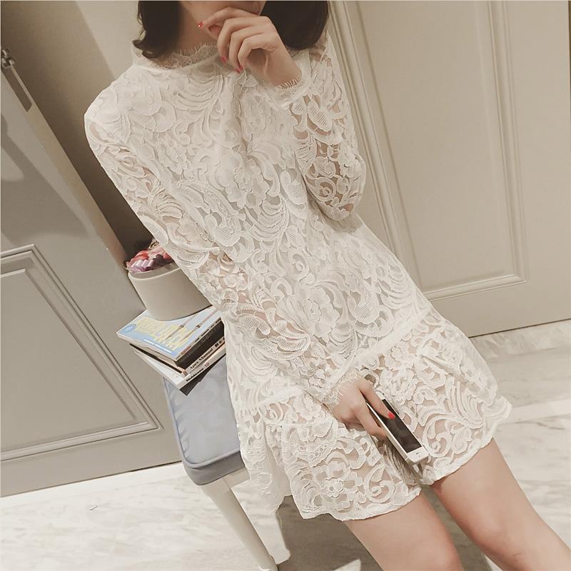 韩版女装白色长袖衬衫打底衫大码修身中长款裙女下摆荷叶边连衣裙