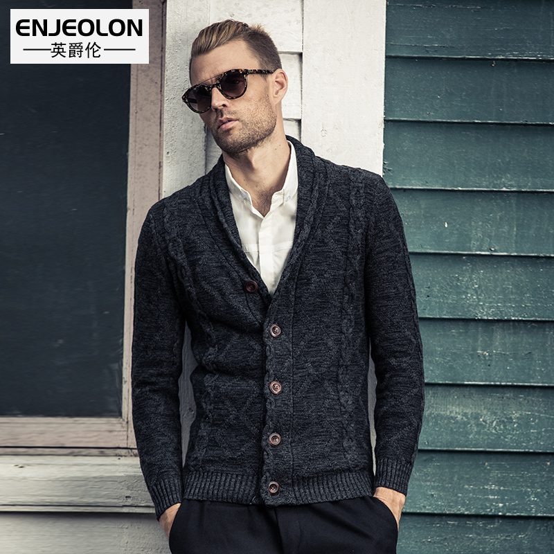 British Grand fall/winter men's fashion brand slim v neck cotton Cardigan Sweater knitted sweater youth jacket
