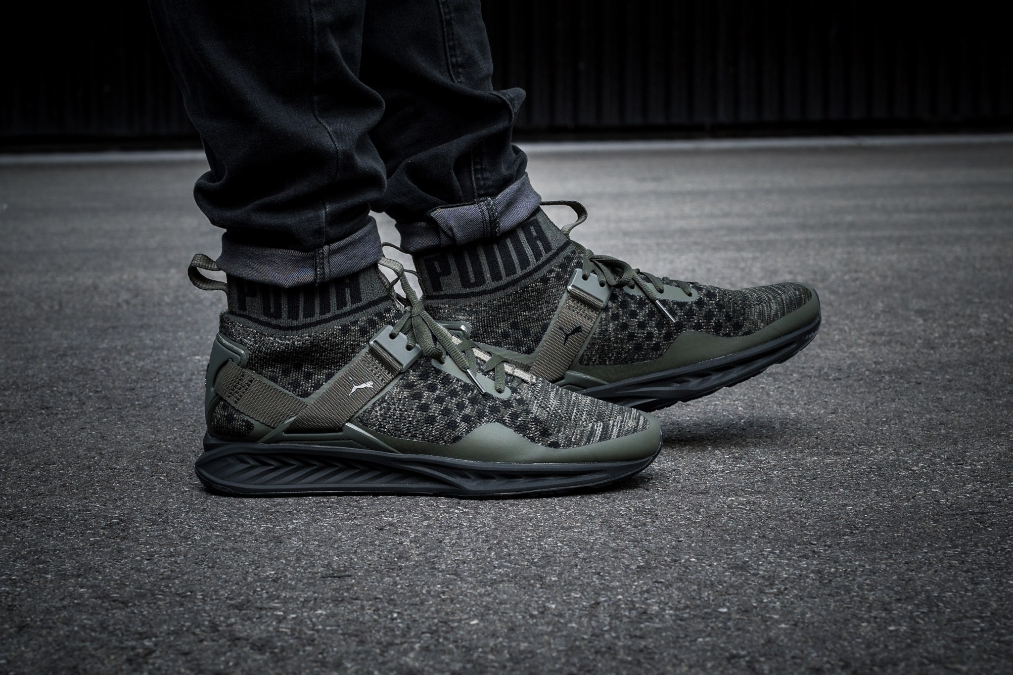 size 40 39495 d9599 BO5 Puma Puma Ignite Evoknit high-top socks dark green 189697_05 190454_04
