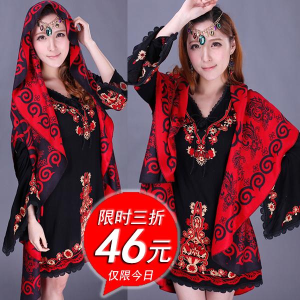 шарф Шарф женский зима двойной-использовать осенью и Хань в Синьцзян плащ шаль пальто национальные ветер утолщенной негабаритных шерстяной кашемировый Снуд