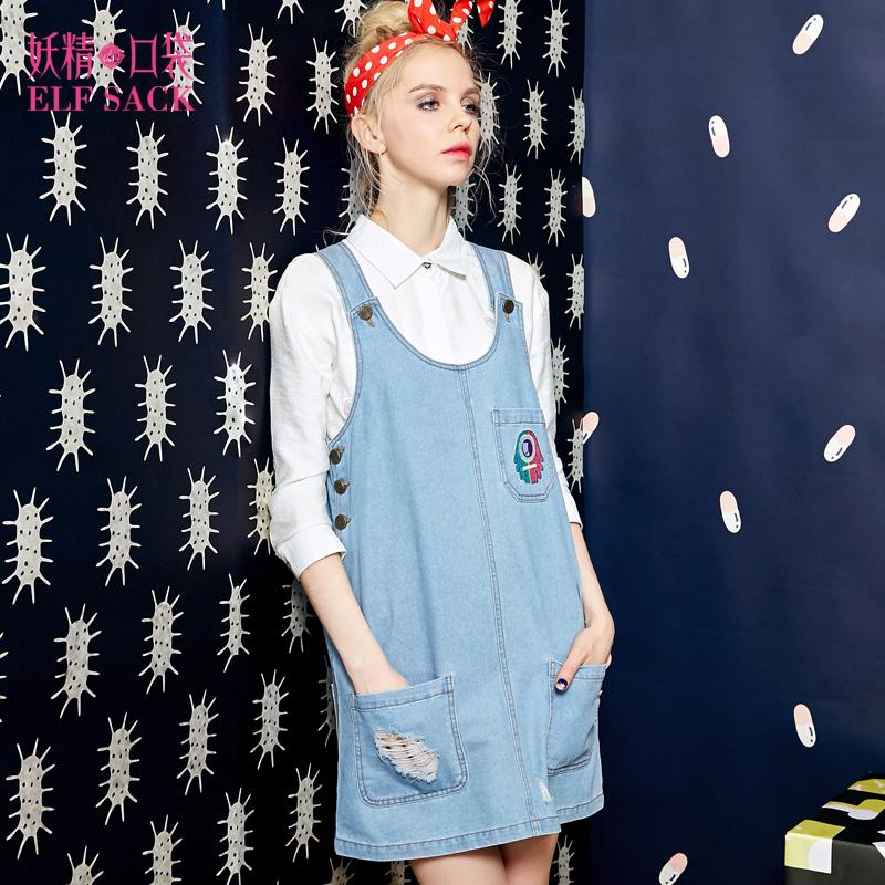 2016春夏新款韩版女装字母印花破洞连衣裙宽松毛边口袋牛仔背带裙