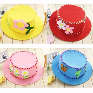 帽子 無紡布帽子 兒童手工diy制作創意材料包 幼兒園美勞益智玩具圖片