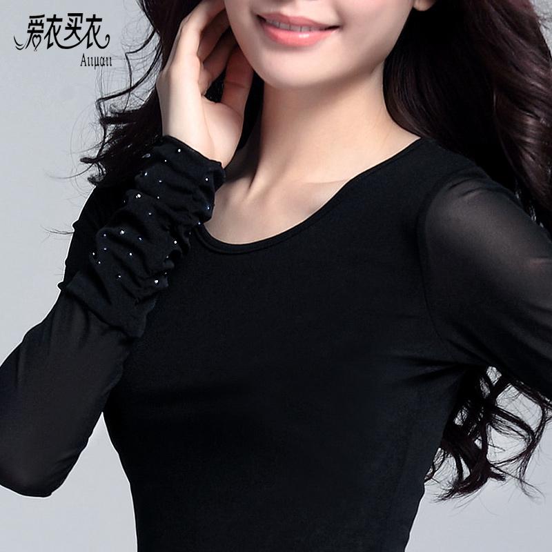 2016春秋蕾丝立领修身黑色网纱加绒打底衫女长袖纱衣女装长袖t恤