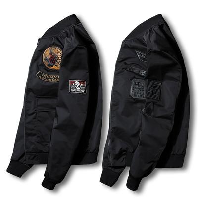 Mùa xuân và Mùa Thu Air Force Jacket Nam Quần Short Châu Âu và Mỹ Bay Áo Khoác Nam Cặp Vợ Chồng Thanh Niên Slim Nhanh Tay Áo Khoác Màu Đỏ Áo khoác