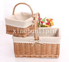 RATTAN WICKER storage basket portable blue fruit basket picnic basket shopping basket vegetable basket picking basket gift packaging basket