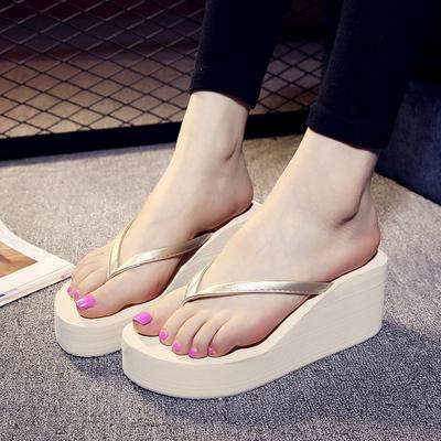 2019新款夏季人字拖女沙滩鞋高坡跟凉拖时尚外穿松糕厚底增高拖鞋
