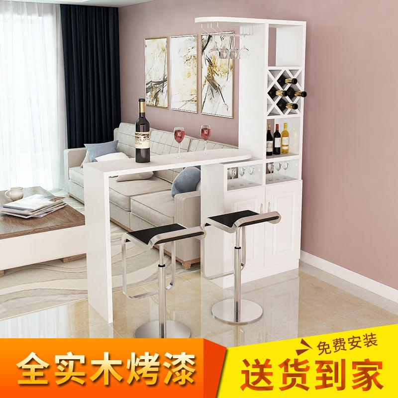 Bar Wine Cabinet Partition Living Room Dining Combination Simple Modern Rotating Pure Solid Wood Paint Table Home