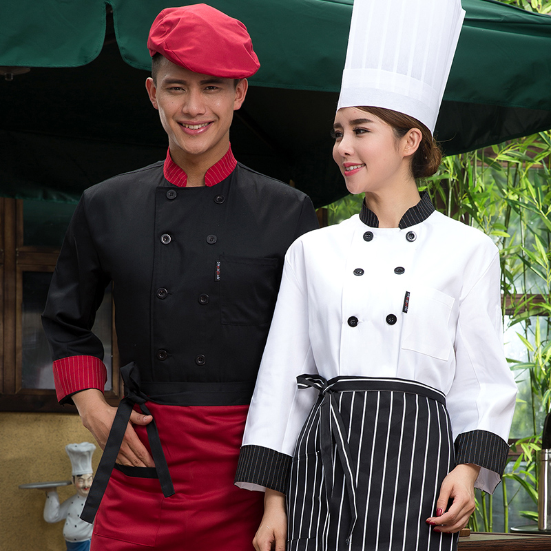 Hotel Chef Clothing Long Sleeved Autumn And Winter Hotel Western Restaurant Kitchen Uniforms Men And Women Red And Black Overalls