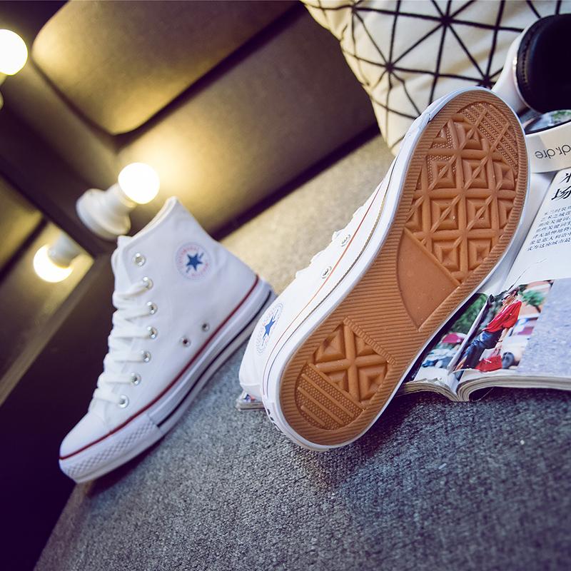 百搭韩版高帮ins超火帆布鞋女2018春季新款小白鞋学生平底板鞋子