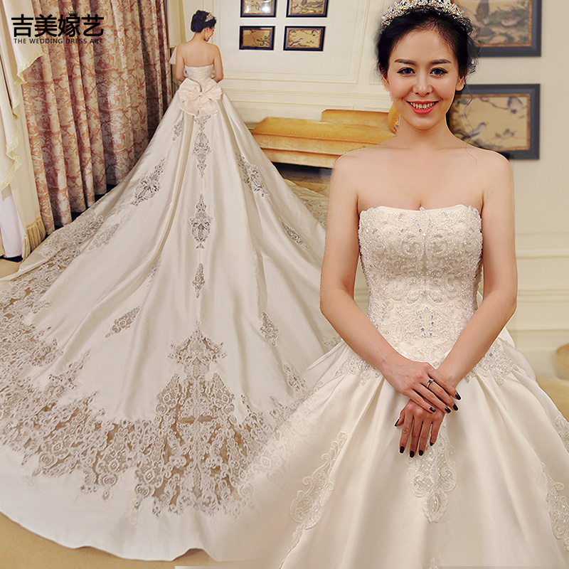 USD 460.68] Gilded wedding dress 2018 new Korean style breast Satin ...