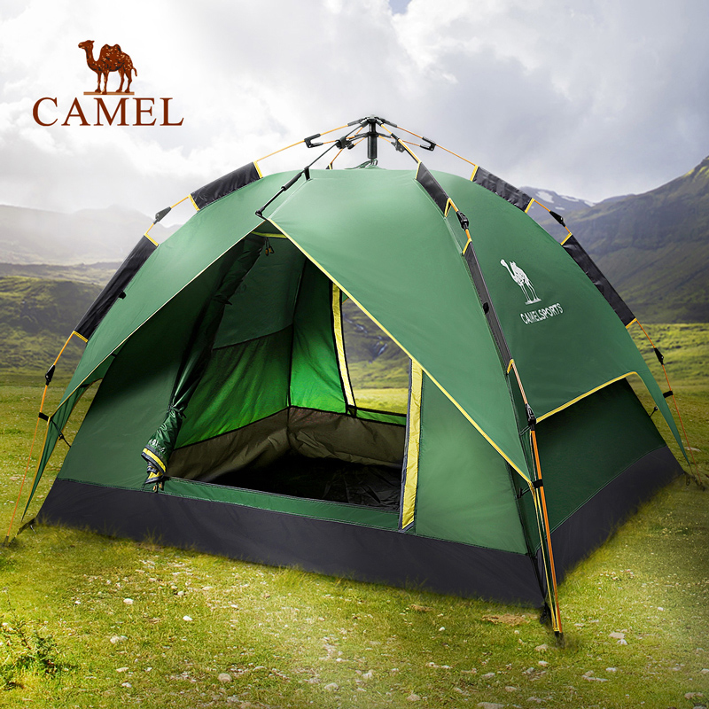 Camel camel outdoor hydraulic automatic tents c&ing anti-rain Visor Four Seasons double layer tent & USD 151.26] Camel camel outdoor hydraulic automatic tents camping ...