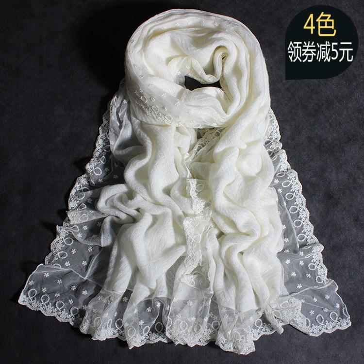 秋冬季韩版保暖男女士纯色羊绒围脖超长款加厚情侣白色羊毛线围巾