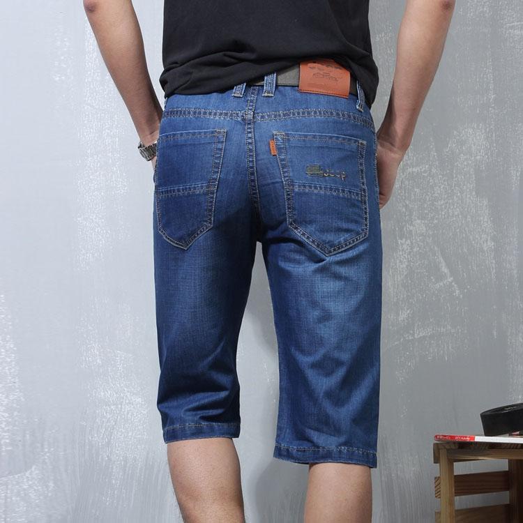 夏季牛仔短裤男修身型 破洞直筒牛仔短裤男5分薄款牛仔短裤男修身