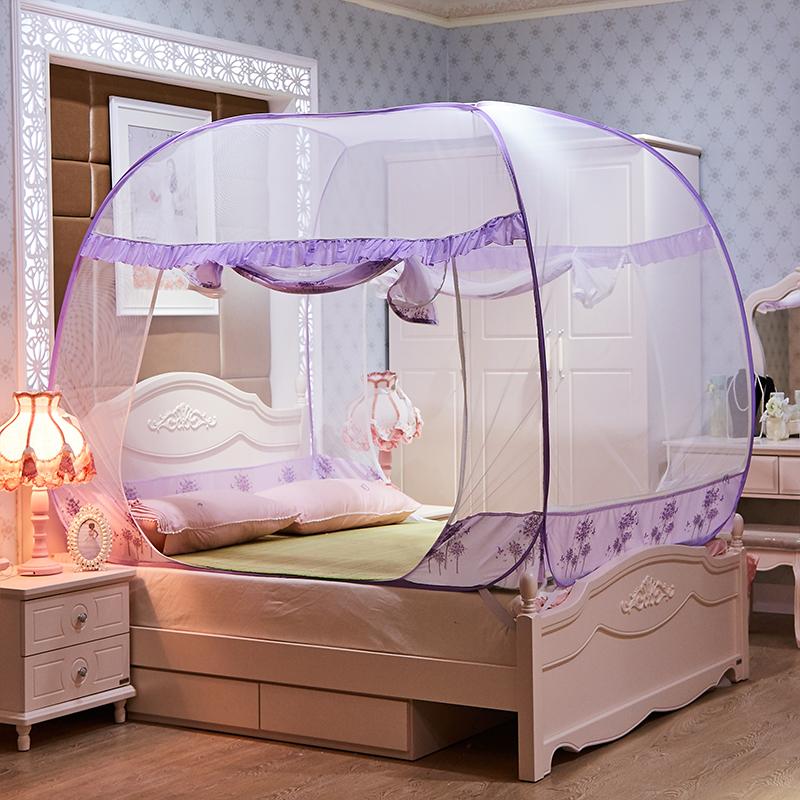 Vuông đầu yurt lưới muỗi ba mở cửa miễn phí lắp đặt dưới 1.5 1.8 m giường 2.2 m đôi hộ gia đình được mã hóa lưới muỗi