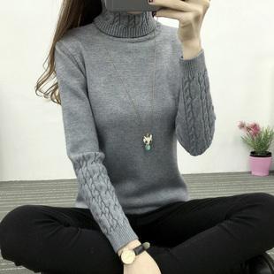 Осень-зима новая коллекция высокая Воротник свитер корейская  версия Женский твист утепленный длинный рукав дикий приталенный основывая трикотажный рубашка