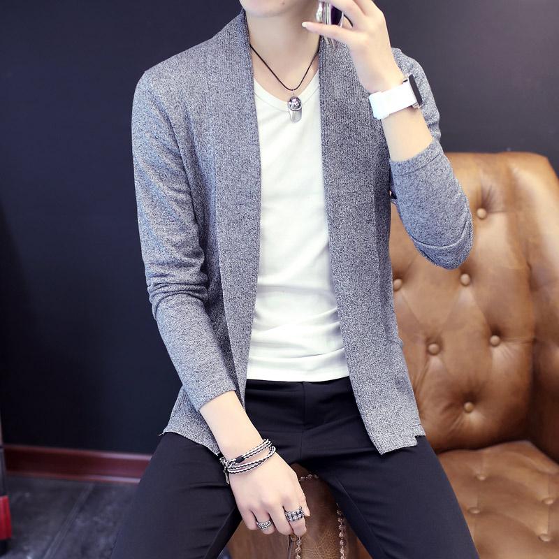 2018春季新款男士针织衫开衫毛衣短款外套韩版修身潮流男装披风