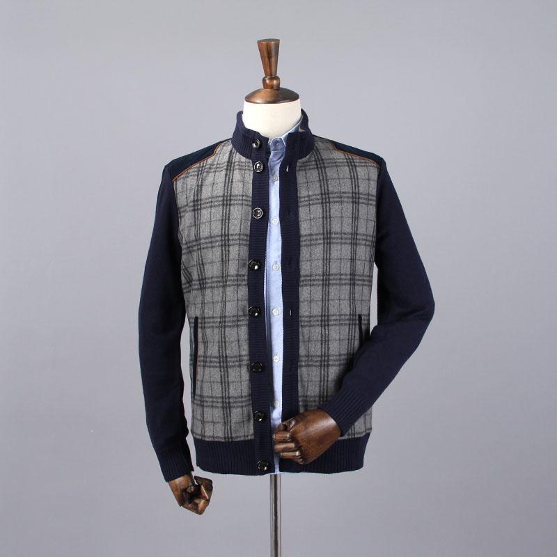 外贸原单尾货剪标羊毛衫格子背心男士V领秋季针织衫休闲毛衣