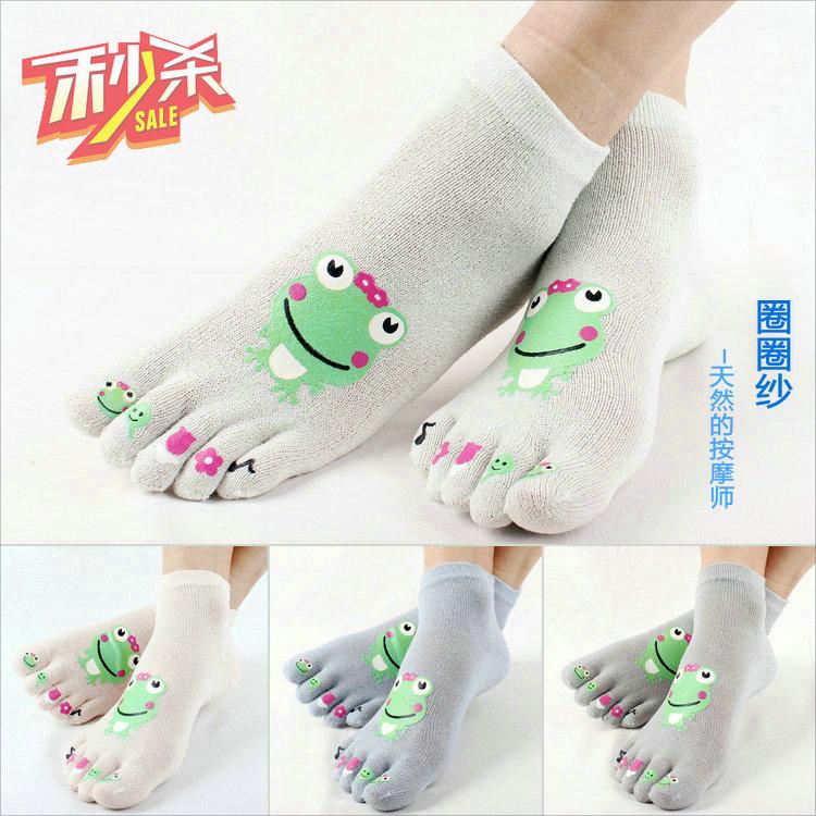 神州龙圈圈纱卡通可爱五指袜五趾女袜分趾棉袜袜子短统保健透气