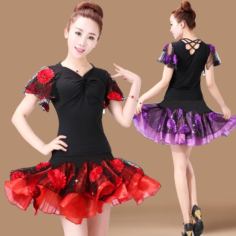 2016服装舞广场舞女新款夏季套装短袖舞蹈gcw跳舞衣拉丁服装短裙