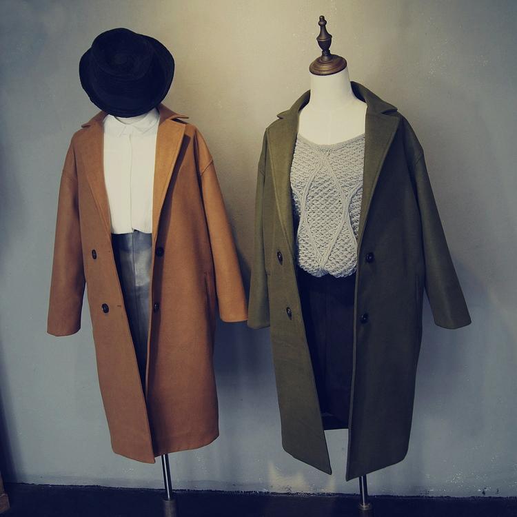 2015秋冬新款少女时代金泰妍同款深蓝色毛针织长版外套中长款毛衣