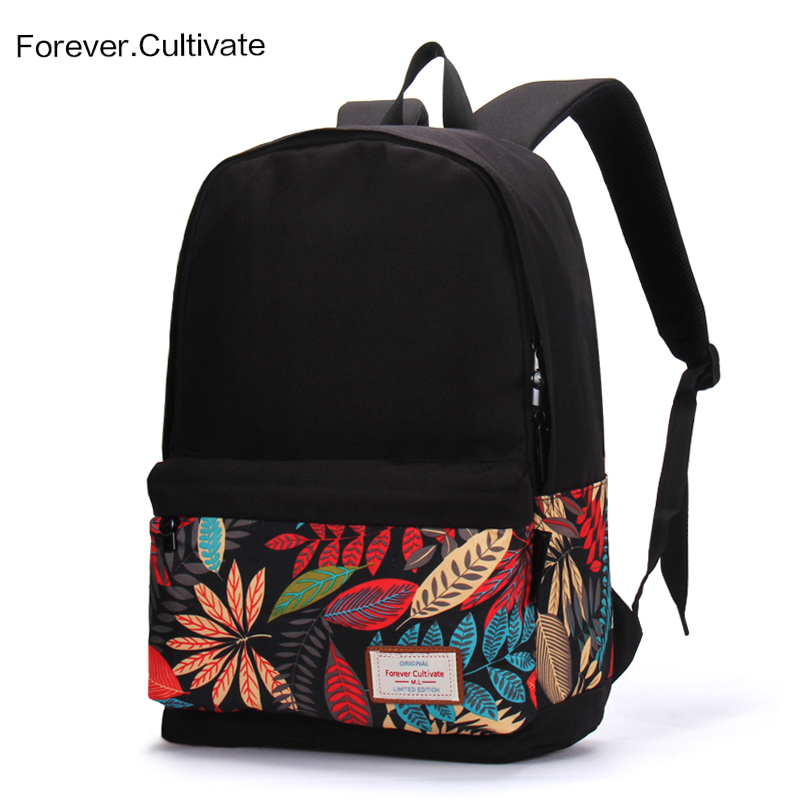 5f1dea9fb52b Neutral printed backpack female Korean version of the tide campus ...
